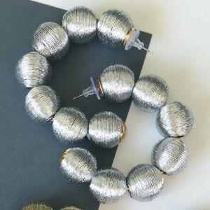 NWT- silver ball hoop earrings
